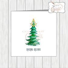 Masonic Christmas Card Masons Compass Symbol Watercolour Xmas Tree