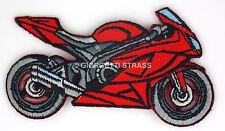 Toppe Ricamate termoadesive Moto rossa toppa adesive Grigia 8cm x 4,5cm patch