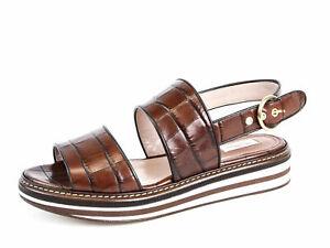 MAX MARA Women's Urlo Brown Croc Embossed Sandals US 9 / IT 39 $655 NIB