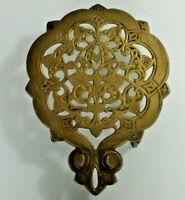 Vintage Antique Ornate Brass Footed Trivet Pot Plant Kettle stand