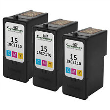 3PK Reman 18C2110 for Lexmark #15 COLOR Ink Cartridge X Series X2600 X2630 X2650