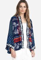 Johnny Was Esme Kimono Size XL. Blue & Red Rayon Embroidered Jacket NWT $275