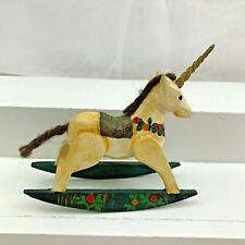 Vintage Miniature Dollhouse 1:12 carved wood ROCKING HORSE unicorn ARTISAN