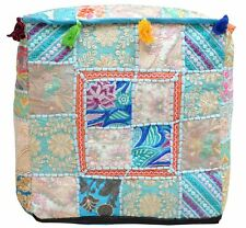 16X16 Indian Handmade Square Ottoman Pouf Vintage Patchwork Cover Turquise Color