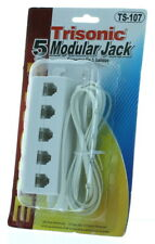 5 Outlet Modular Telephone Jack Line Splitter 6 Ft Adapter
