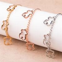 Hot Beauty Women Titanium steel Hollow Bear Chain Charm Bracelet Jewelry
