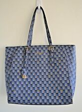 Guess Tote Handbag Purse Large Gold Hardware Lock Logo G Blue Geometric