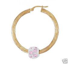 9ct Gold Pink C/Zirconia Ball Twist Hoop Set  3.4cms Diameter  2mm Thick  NEW
