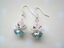 *WATER LILY FLOWER* Silver Plated Earrings Blue Crystal Beads Pink Gift Bag