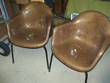 Vintage Herman Miller Eames Era Fiberglass Shell Arm Chair - (2) - Rare