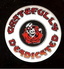 Old GRATEFULLY DEADICATED pin GRATEFUL DEAD pinback button SKULL & ROSE graphic