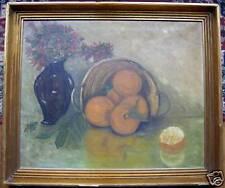 """Belle huile de 1911 """"vase de fleurs prés des oranges """""""