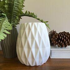 White Geometric Vase/Large Handmade Hurricane Vessel/Porcelain/Modern Coastal