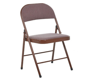 Deluxe Brown Fabric Cushioned Padded Folding Chair| Comfortable Seat