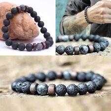 Women Men Natural Lava Rocks Bracelet Beads Elastic Bangle Charm Jewelry Gifts