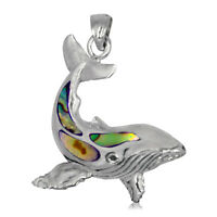925 solid Sterling Silver Whale with Abalone pendant