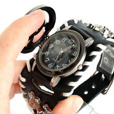 Steampunk Men's Oversized Leather Strap Bracelet Quartz Sport Casual Wrist Watch