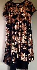 LuLaRoe ELEGANT COLLECTION Carly BLACK Rose Gold Leaves Dress S SMALL 6-8 NWT
