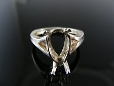 1902 RING SETTING STERLING SILVER, SIZE 7.25, 14x9MM PEAR STONE