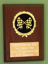 Racing/Checkered Flags Award Plaque 4x6 Trophy FREE engraving