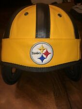Pittsburgh Steelers Faux  Leather Helmet Embroidered NFL REEBOK creases See Pic