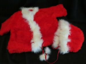 """Vintage Doll Red Fleece Jacket and Hat Fur Trim 18"""" to 20"""" Doll Handmade"""