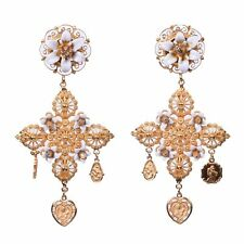 DOLCE & GABBANA RUNWAY Sicily Cross Flowers Madonna Clips Earrings Gold 05465