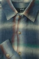 Ike Behar Men's Slate Blue & Beige Check Cotton Casual Shirt L Large
