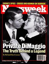 1999 NEWSWEEK MARILYN MONROE JOE DIMAGGIO MARRIAGE NM MAGAZINE HOF N Y YANKEES