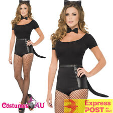 Womens Instant Black Cat Set Kit Fancy Dress Costume Ears Bow Tie Tail