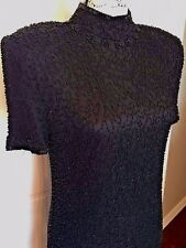 Beaded Short Sleeve Wedding Prom Dance Cocktail Formal Dress Black Silk Sz Sm