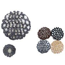 USA 6pcs Beads Bun Cover Snood Skating Hair Net Ballet Dance Crochet Elastic Lot