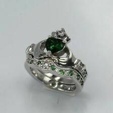 2ct Heart Green Emerald Engagement Ring Claddagh Bridal Set 14k White Gold Over