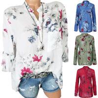 AU Women Plus Size Chiffon Floral Print Long Sleeve Blouse Pullover Tops Shirt