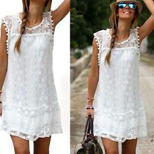 Women Bohemian Boho Sleeveless See Through Lace White Midi Dress Long Blouse JJ