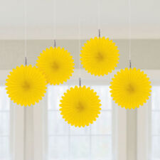 5 Pretty Yellow paper fans hanging decorations Hawaiian Party Easter decorations