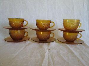 12 pcs Tiara Amber Sandwich Indiana Glass CUPS AND SAUCER SET 6x Cups 6x Saucers