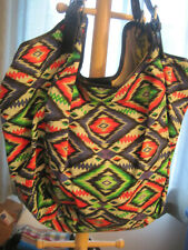 Cynthia Vincent Aztec Print Hobo Leather Trim Large Bag New woTags