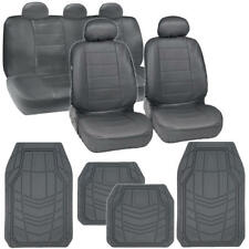 PU Leather Car Seat Covers + Geometric All Weather Floor Mats - Gray/Grey 13 PC