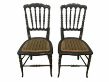 Great Elizabethan Pair of Chairs Black Patinated # 10709b
