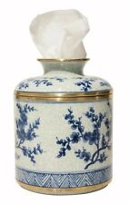 Porcelain Blue & White Blossom Jar Facial Tissue Holder Cover Kleenex Box Keeper