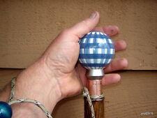 BlueCheck PORCELAIN ORB-KNOB Ball SHILLELAGH walking stick Oak/Walnut shaft~cane