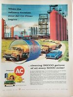 Lot of 3 Vintage 1957 AC Oil Filter Ads When the Refinery Finishes,