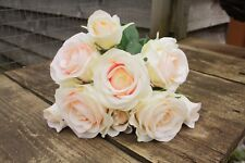 9 x IVORY / BLUSH PALE PINK SILK ROSES & ROSE BUDS TIED BUNCH / SMALL BOUQUET