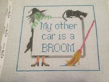 My Other Car Is A Broom Sign-Wsd-Handpainted Needlepoint Canvas