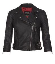 HTF AllSaints Cropped VOXAN Quilted Biker Jacket Black Leather UK12 US6/8 EU40
