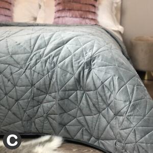 Luxury Dark Grey Soft Velvet Bedspread Throw Double / King Size Geometric Quilt