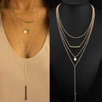 Fashion Women Multi-layer Choker Statement Bib Pendant Chain Charm Necklace Gift