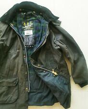 HOT Men BARBOUR @ BEDALE WAXED Cotton PLAID LINED DARK OLIVE GREEN COAT JACKET L