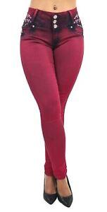 Women's Juniors / Plus Colombian Design Butt Lift Push Up Mid Waist Skinny Jeans